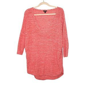 Express Oversized Orange Sweater V-Neck